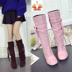 Women Tassels Bandage Sexy Party Gladiator Boots Ladies Long Nubuck Flock Riding Shoes Plus Big Size pink 35