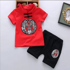 Children Chinese Traditional Costumes Clothing  Tang Mask Pattern Boy Baby Suit Short-Sleeve Peking Opera facial red 80cm cotton
