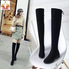 Thigh High Boots Female Winter Boots Women Over the Knee Boots Flat Stretch Sexy Fashion Shoes black 35