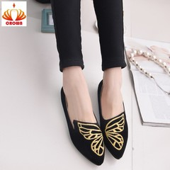 Women Flats Casual Solid Pointed Toe Slip-On Flat Shoes Soft Women Shoes Embroidery Butterfly black 35
