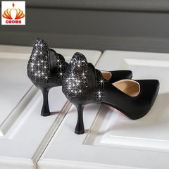 2019 Luxury Designers Womens Shoes High Heel Bling Party Wedding Sexy Pointed Toe Ladies Shoes black 34