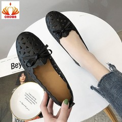 New Women Flats Casual Shoes Women Flat Boat Shoes Female Fashion Loafers Hollow Out Ladies Flats black 35