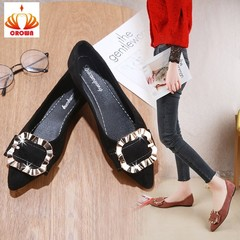 new fashion simple solid color casual shoes women soft and comfortable suede flat shoes black 35
