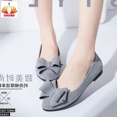 New Suede Pointed Shallow Flat-heeled Flat-soled Bow Flats Shoes gray 35