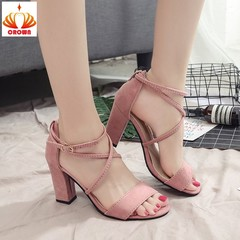 Summer strap toes pink sweet Rome sandals shoes women black rough and high heels women's sandals pink 35