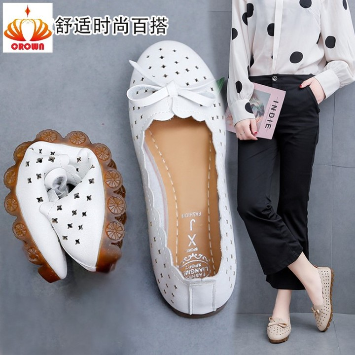 New Women Flats Casual Shoes Women Flat Boat Shoes Female Fashion Loafers Hollow Out Ladies Flats white 35