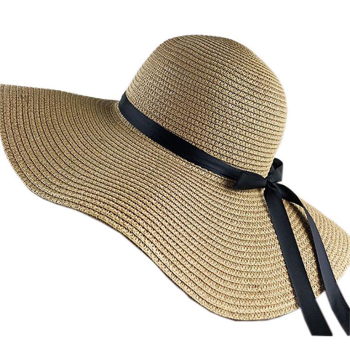 ccd874a0ecbdbb Hat woman summer seaside resort beach hat ribbon bow women sunscreen straw  hat folding khaki