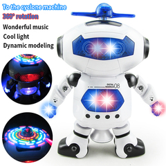 New space dancing electric robot rotates lights 360 degrees music infrared hot selling toys blue One Size