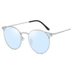 New round frame fashion sunglasses European and American sunglasses men and women fashion sunglasses silver blue one size