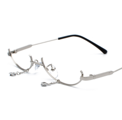 Lower half frame glasses, water drop without lens ins female pendant, flat mirror glasses frame Silver frame