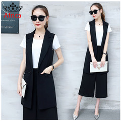 Korean version of the sleeveless slim vest vest jacket jacket long vest ladies black s