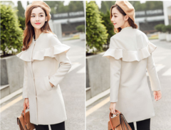 Clearance price, Korean fashion woolen coat female long section wild casual woolen coat Beige xl