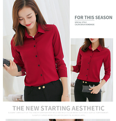 Women Chiffon Office Career Shirts Tops Fashion Casual Long Sleeve Blouses Femme Blusa red S
