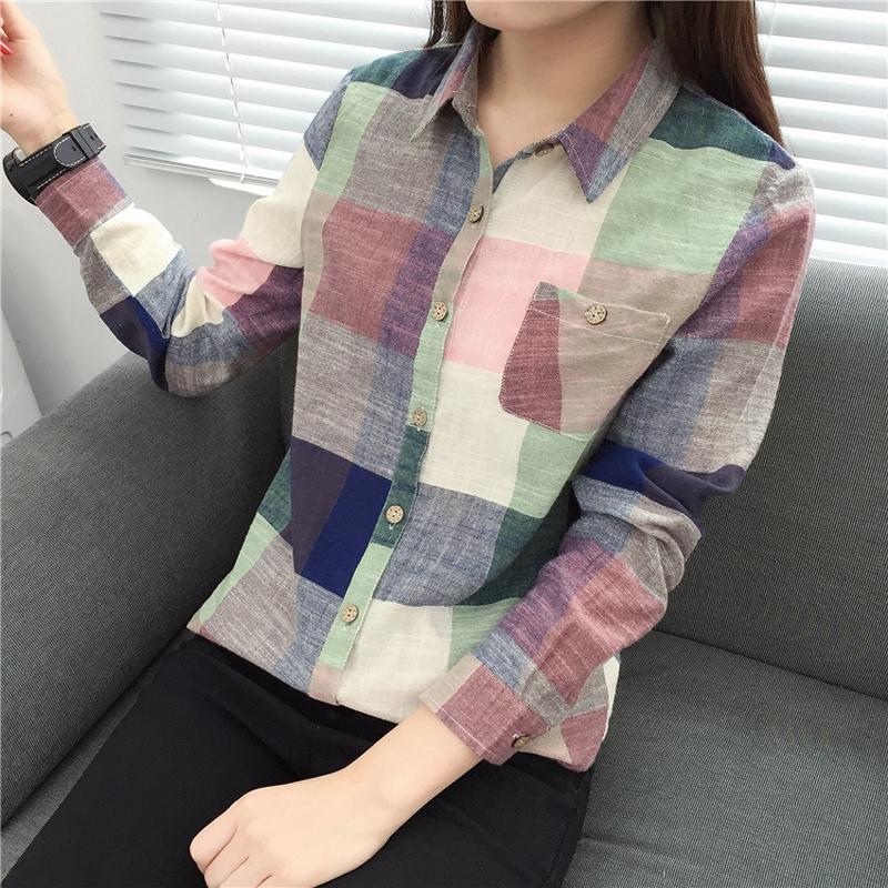 4d835ff4e6aea Casual Plaid Women Blouses Kimono Vintage Linen Cotton Long Sleeve Blouse Female  Shirts Tops Color one s  Product No  10858059. Item specifics  Brand