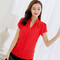 Women Shirt Chiffon Tops Short Sleeve Elegant Ladies Formal Office Blouse  Chiffon Shirt red l