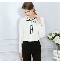 Spring Autumn Tops Office Ladies Blouse Fashion Long Sleeve Bow Slim White Shirt Female Cute Bodycon white s