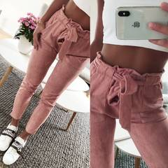 2019 crazy promotion, cheap hot sale, new fashion women's suede pants, ladies leather bottom casual dark gray s