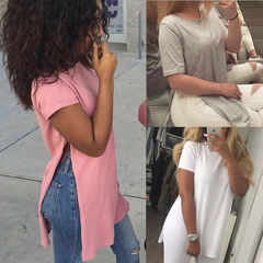 New Sexy Ladies Women Short Sleeve Tops Casual Loose Blouse Ladies Summer Split Long T shirt pink s