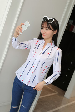 Loose stripe stand collar blouses long sleeve white women new style in summer and autumn Color bar s