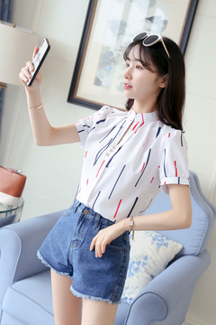 women's new short-sleeved shirt women's shirt Europe and the United States loose blue printed shirt color bar s