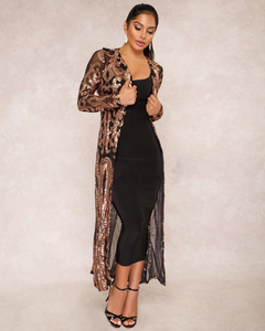 Women's 1920s Embellished Gatsby Art Sexy Sequin Perspective Dress Long Coat Maxi Sweater black s