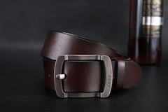 Men real cattle leather young men leather belt casual cowboy pin buckle coffee 105
