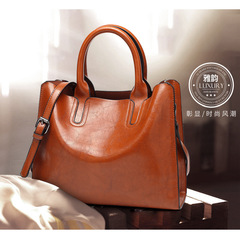 Fashion female bag  Women's single-shoulder slanted straddle bag  Large capacity handbag The big bag red wine one size