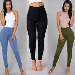 CCH hot style leggings thin high-waisted stretch tight candy colored pencil pants jeans blue s