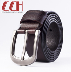 CCH men's high quality leisure needle buckle leather belt high quality cowhide belt brown 110