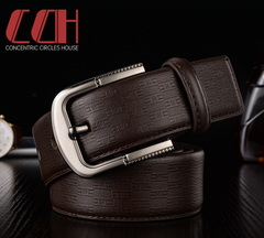 CCH men's leather needle buckle belt cowhide fashion authentic casual jeans versatile wide belt coffee 110-120cm