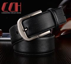 CCH men's leather needle buckle belt cowhide fashion authentic casual jeans versatile wide belt black 110-120cm