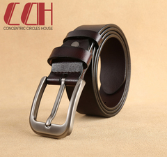 CCH crazy promotion super low price leather belt fashion pin buckle pure leather belt coffee 110cm