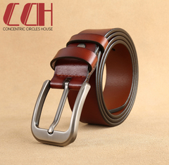 CCH crazy promotion super low price leather belt fashion pin buckle pure leather belt brown 115cm