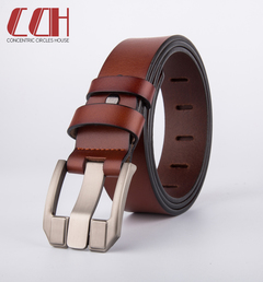 CCH crazy sale ultra low price leather belt fashion pin buckle pure leather belt brown 115cm