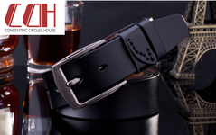 CCH crazy sale, ultra-low price, leather belt, fashion pin buckle, pure cowhide retro simple belt black 110-125cm