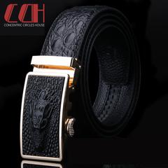 CCH crazy sale, ultra-low price, crocodile head layer cowhide, men high-grade automatic buckle belt Cafe DeJin buckle 100cm-130cm