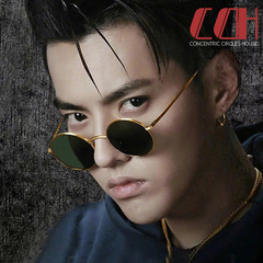 2019 crazy promotion, big loss, classic round frame sunglasses, retro men and women fashion sun eyes Dark green with gold frame 1 one size