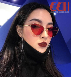 2019 crazy promotion, big sale at a loss, new metal cat eye sunglasses Gold frame red 1 one size