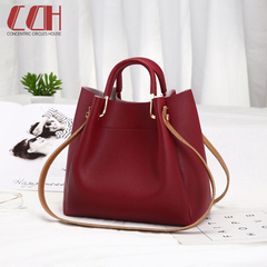 2019 crazy promotion, low price hot sale, new bucket bag, simple lady crossbody bag red wine one size