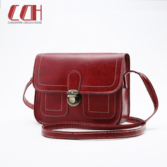 2019 crazy promotion, low price hot sale, new small square bag, lady retro car line lady bag Red wine one size