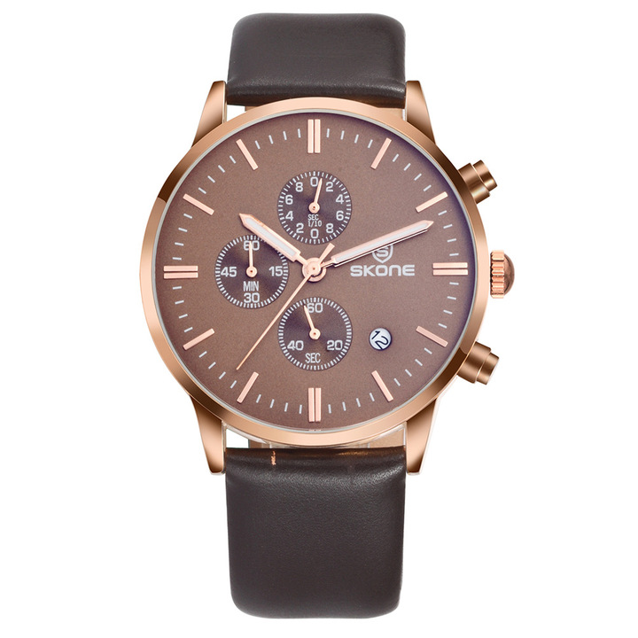 2019 crazy sale, high-grade real leather belt luminous waterproof quartz men's business watch Rose gold shell coffee noodles one size