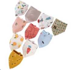 2019 newest baby triangle pure cotton bib pocket, suitable for men and women waterproo 5 pieces at random size