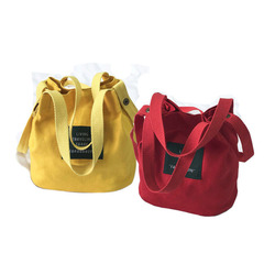 2019Canvas bag art bag girl lovely hand bucket bag child shoulder bag red a size