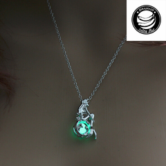 Banana Brand Wholesale-Empty mermaid glow-in-the-dark necklace pendants for women jewellery gifts Green 45+5cm