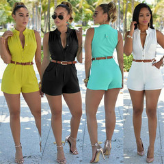 Street Hipster Women's High Waist Single-Breasted Candy Color Sleeveless Shorts With Belt Hot Pants yellow s