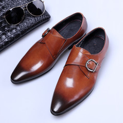 Men's Dress Shoe European Style Handmade Leather Men Formal Shoes Office Business Wedding Suit Shoes browm 39 leather