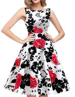 New Large Size 2009 Sleeveless Printed Dress with Round Neck Hepburn Style Retro Flamboyant Skirt s red
