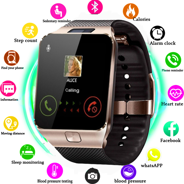 Wearable Smartwatch Camera SIM/TF Bluetooth Smart Watch Multifunction Digital WristWatch for Android white one size