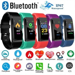 Fitness Waterproof Smart Bracelet Watch 115 Plus Blood Pressure Monitoring Heart Rate Smart Watches black one size