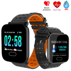 A6 Smart Watch Heart Rate Monitor Sport Fitness Tracker Blood Pressure  SmartWatch Clock IOS Android black normal size